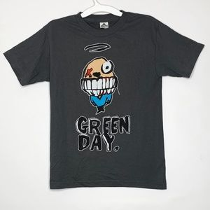Green Day Angel Smiley Face Graphic Gray Shirt S